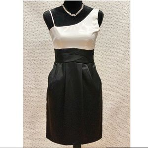 Black & White Satin Dress - Small GUC